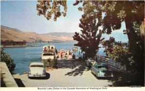 1950s Lake Chelan Cascade Mountains auto Ferry Washington postcard 1401
