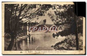 Postcard Old Bridge Brest Plougastel Daouias through the firs