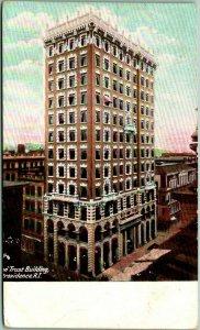 1910 Providence, Rhode Island Postcard Union Trust Company Building Street View