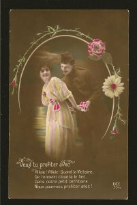 WWI era Soldier and Lady Lovers Bioletto Lyon France Color Postcard Unposted