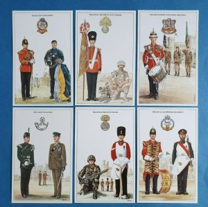 The British Army Infantry Regiments Postcards Set of 6 Set 1 by Geoff White Ltd