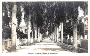 Nassau Bahamas Victoria Avenue Real Photo Postcard