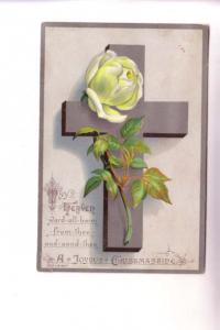 Vintage Victorian Single Layer Christmas Greeting Card, Silver Cross, Rose,