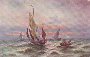 Sailing Boats and row boat, on choppy waters, 00-10s