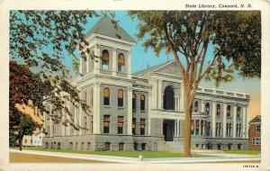 Concord New Hampshire~State Library~Corner Street View~Arches~1940s Postcard