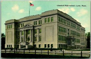 Lynn, Massachusetts Postcard Classical High School Building View c1910s UNUSED