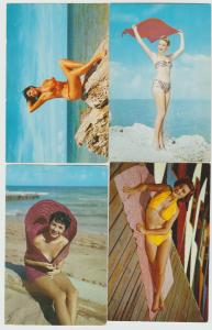 Lot of 4 pinup pretty woman women bikini blond brunette 1950s,60s Postcards