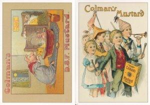 Colmans Mustard Pigs Bathing Children Musicians 2x Postcard s