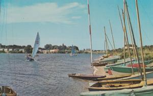 Pagham Sussex Lagoon Sailing Boats 1960s Postcard
