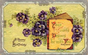 Flowers~Purple Pansies Surround Shakespeare Book Quote~Lime Back~Emboss~Germany