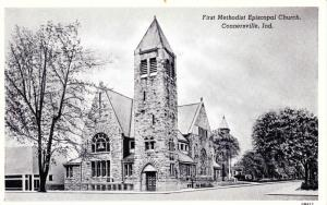 First Methodist Espicopal Church, Connersville IN c1947 Vintage Postcard F11