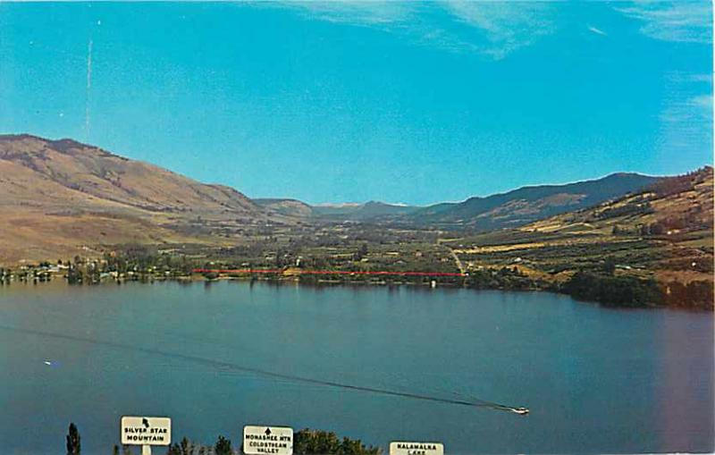 Looking Across Kalamalka Lake Vernon BC Chrome Postcard