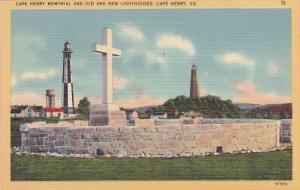 CAPE HENRY, Virginia, 1930-1940´s; Cape Henry Memorial, Old And New Lighthouses