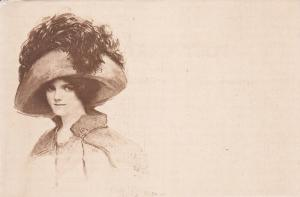 Woman wearing a feather hat, 00-10s