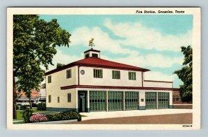 Gonzales TX, Fire Department Station, Vintage Texas c1930 Postcard
