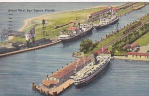 Florida Tampa Aerial View Of Port 1954