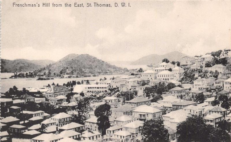 ST THOMAS DWI~FRENCHMAN'S HILL FROM EAST~LIGHTBOURNS PHOTO POSTCARD 1910s