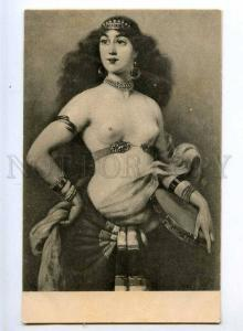 215408 NUDE Slave Harem BELLY DANCER Tambourine Vintage PC