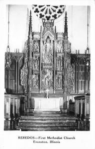 Evanston Illinois~First Methodist Church Interior~Wood Carved Reredos~1950s RPPC