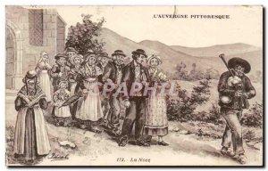 Auvergne - La Noce -Ilustration Bignou Old Postcard