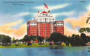 Lake Cliff Showing Cliff Towers Hotel, Dalls, TX, Early Linen Postcard, Unused
