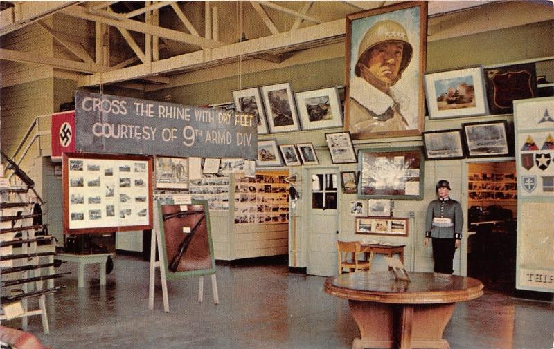 Fort Knox Kentucky~Patton Museum Interior~Pictures-Rifles-Mannequin~'58 Postcard