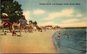 Swifts Beach, MA - BATHING BEACH & COTTAGES - LINEN - PC - POSTCARD VINTAGE RARE