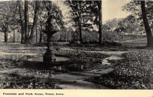 Traer Iowa~Fountain & Park Scene~Shaded by Trees~Houses in Distance~1917 B&W Pc