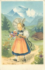 Postcard young girl ethnic type illustration countryside folk outfit
