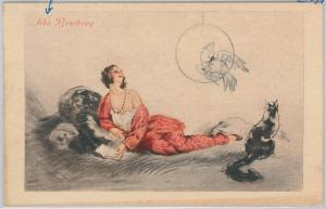 53171 -  VINTAGE POSTCARD - GLAMOUR \ ADVERTISING - BEMBERY Silk  - CAT PARROT