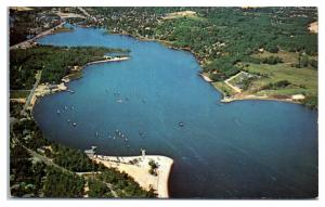 1950s/60s Aerial View of Sailing on Toms River, NJ Postcard
