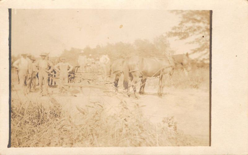 Real Photo Postcard~Horse Team Hitched to Single Plow~12 Proud Farmers~Bibs~1912
