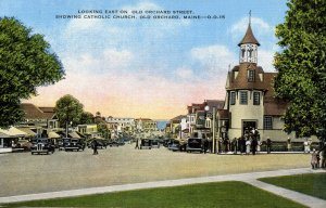 ME - Old Orchard. Old Orchard St and Catholic Church