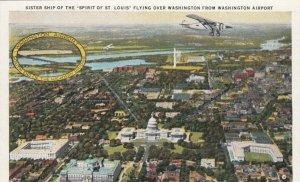 WASHINGTON D.C., 1910-20s; Flying over Washington from Washington Airport