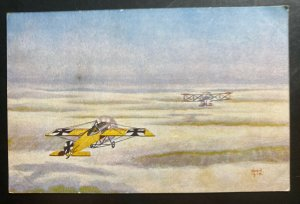 Mint Germany PPC Picture Postcard German Fighter Plane In Action