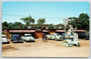 Holland Michigan~Wooden Shoe Factory~Roadside Diner~Dutch Windmill~1940-50 Cars