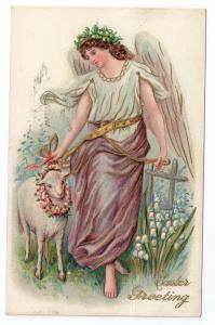 Easter Angel Lamb Embossed 1911 PC Philadelphia Flag Cancel
