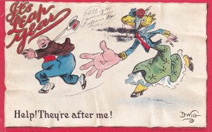 LEAP YEAR 1900-10s ; Help! They're after me! ; Artist DWIG