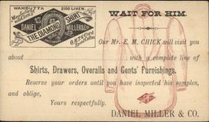Illustrated Postal Card Daniel Miller Co Diamond Shirt Baltimore MD 1880s-90s