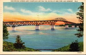 New York New Bridge Across Lake Champlain 1937 Curteich