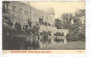 River Front With Mill, Warwick Castle, England, UK, 1910-1920s
