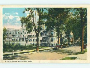Unused W-Border OLD CARS & WELDON HOTEL Greenfield Massachusetts MA u9229