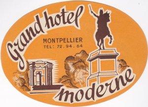France Montpellier Grand Hotel Moderne Vintage Luggage Label lbl0994