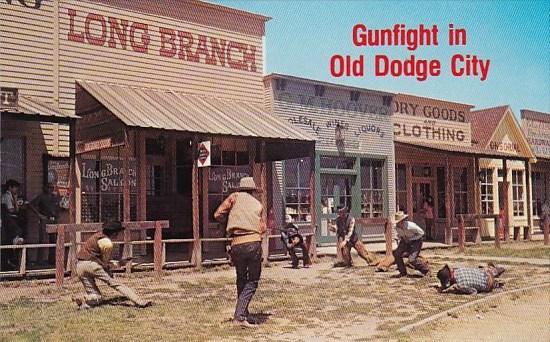 gunfight in old dodge city historic front street dodge city kansas