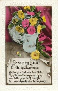 Postcard Greetings birthday flowers vase