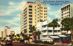 Florida Miami Beach Exclusive Ocean Front Hotels Collins Avenue Looking North...