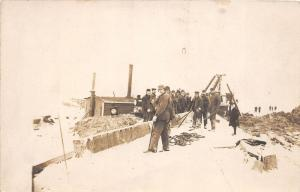 F9/ Occupational Real Photo RPPC Postcard c1910 Winter Construction Crew 6