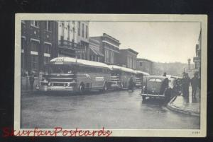 LOUISIANA MISSOURI DOWNTOWN STREET SCENE GREYHOUND BUS DEPOT OLD POSTCARD