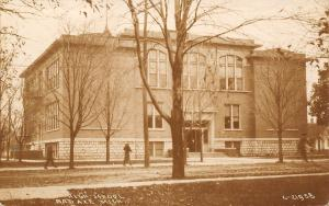Bad Axe Michigan~Winter Approaches @ The High School~Leaves on Ground~RPPC 1917
