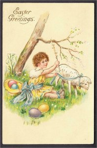 Easter Postcard Girl with Sheep and Eggs in Hat Under Tree Gold Ink 1908